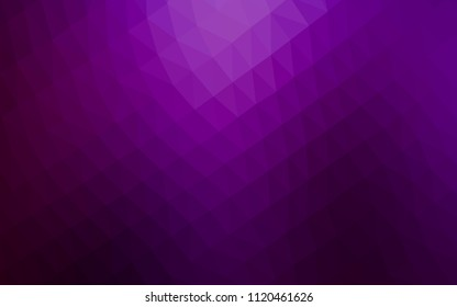 Dark Purple vector low poly mosaic texture. Triangular geometric sample with gradient.  Brand new style for your business design.