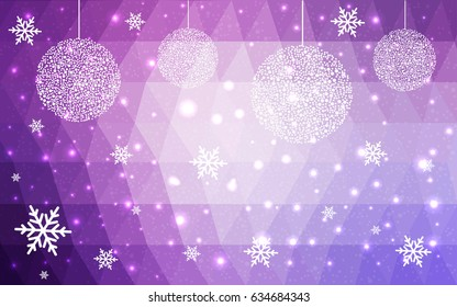DARK purple vector low poly crystal background with snowflakes. Polygon christmas design pattern . Low poly illustration of New Year celebration.