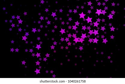 Dark Purple vector pattern with christmas stars. Stars on blurred abstract background with gradient. Best design for your ad, poster, banner.