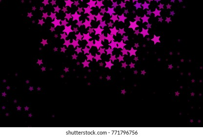 Dark Purple vector pattern with christmas stars. Decorative shining illustration with stars on abstract template. Best design for your ad, poster, banner.