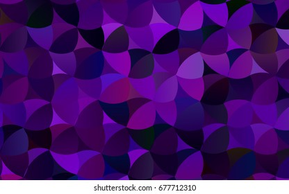 Dark Purple vector red pattern of geometric circles, shapes. Colorful mosaic banner. Geometric background with colored disks.