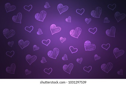 Dark Purple vector template with doodle hearts. Blurred decorative design in doodle style with hearts. Template for Valentine's greeting postcards.