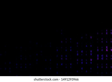 Dark Purple vector template with EUR, JPY, GBP. Shining colored illustration with EUR, JPY, GBP signs. The pattern can be used for ad, booklets, leaflets of banks.