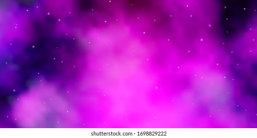 Dark Purple vector template with neon stars. Blur decorative design in simple style with stars. Theme for cell phones.