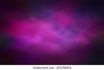 Dark Purple vector template with space stars. Blurred decorative design in simple style with galaxy stars. Pattern for astronomy websites.