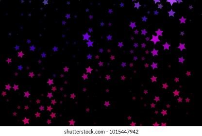 Dark Purple vector texture with beautiful stars. Glitter abstract illustration with colored stars. The template can be used as a background.