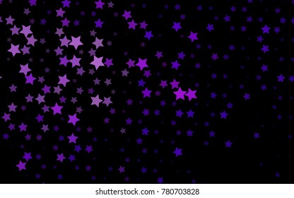 Dark Purple vector texture with beautiful stars. Blurred decorative design in simple style with stars. The pattern can be used for new year ad, booklets.