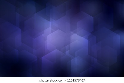 Dark Purple vector texture with colorful hexagons. Glitter abstract illustration in hexagonal style. New template for your brand book.