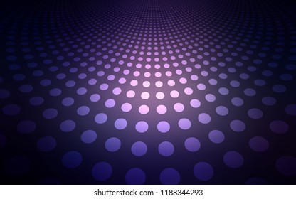 Dark Purple vector texture with disks. Illustration with set of shining colorful abstract circles. Pattern can be used for futuristic ad, booklets.
