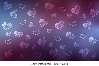 Dark Purple vector texture with lovely hearts. Decorative shining illustration with hearts on abstract template. Template for Valentine's greeting postcards.