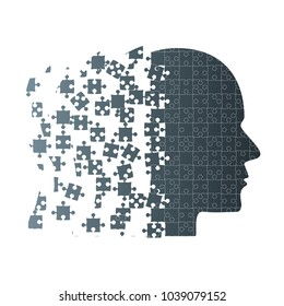 Dark Puzzle Piece Silhouette Head - Vector Puzzle Illustration. Jigsaw Puzzle Blank Template. Vector Puzzle Object. 4 Step Process Diagram. Brain, Knowledge, Study and Self-Education.