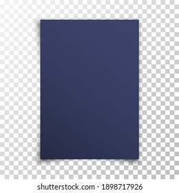 Dark realistic blank paper page with shadow isolated on transparent background. Navy-blue sheet of paper. A4 size sheet paper. Mock up template for your design. Vector illustration
