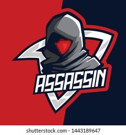 Dark Red Assassin E-Sport Mascot Logo