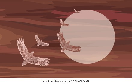 Dark red background with skein and big moon. Romantic vector illustration. sepia colors.Flying ravens.Vector illustration. Big moon.Romantic picture. Watercolor background with hand drawn flying eagle