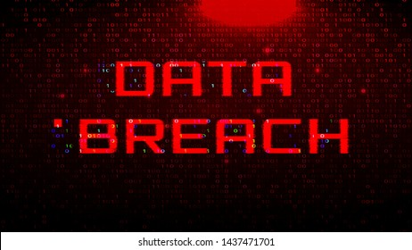Dark Red BG with Binary Code. Data Breach Glitch Effect