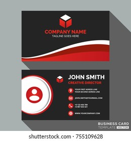 Dark and Red Business Card Template Design