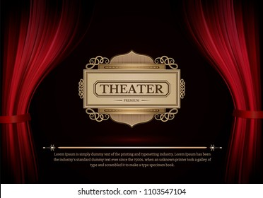 Dark red curtain scene gracefully.  Like curtains in theater. Cover with vertical motion blur shapes. Elegance vector backdrop with vintage sign