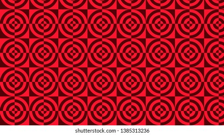 Dark Red Geometric Quarter Circles Background Pattern