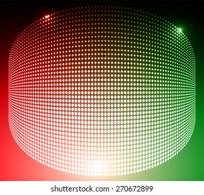 Dark red green Abstract light lamps background for Technology computer graphic website internet and business.. Screen on stage. Vector illustration. Spot Effect. neon. point. dot