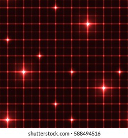 Dark red grid with shining points. Laser net with glow intersects on red dark background. Seamless pattern with red neon regular lines and light cross.