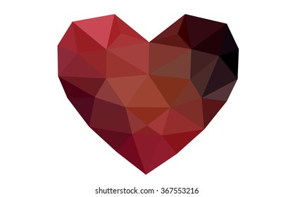 Dark red heart isolated on white background. Geometric rumpled triangular low poly origami style gradient graphic illustration. Vector polygonal design for your business.