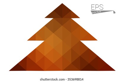 Dark red low polygon style christmas tree vector illustration consisting of triangles . Abstract triangular polygonal origami or crystal design of New Years celebration. Isolated on white background.