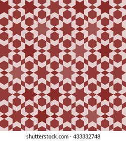 Dark red moroccan tile. Islamic seamless pattern. Oriental background. Arabic craft. Zellige vector illustration.