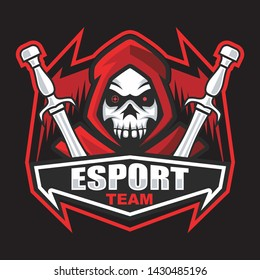 Dark red reaper with skull face mascot logo design for esport. Gaming Logo. Clan Logo.