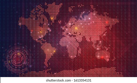 Dark red technological map of the world with luminous dots, global information network on a digital screen