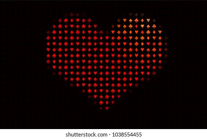 Dark Red vector background with cards signs. Shining illustration with hearts, spades, clubs, diamonds. Template for business cards of casinos.