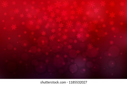 Dark Red vector background with xmas snowflakes. Snow on blurred abstract background with gradient. New year design for your ad, poster, banner.