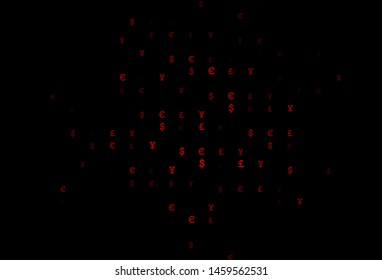 Dark Red vector cover with EUR, JPY, GBP signs. Blurred design in with symbols of EUR, JPY, GBP. The pattern can be used as ads, poster, banner for payments.