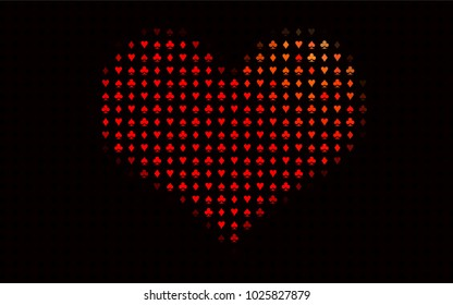 Dark Red vector cover with symbols of gamble. Colored illustration with hearts, spades, clubs, diamonds. Pattern for booklets, leaflets of gambling houses.
