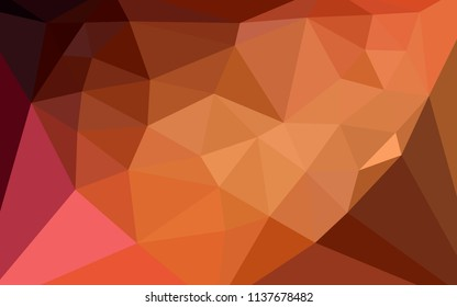 Dark Red vector gradient triangles template with a heart in a centre. Modern abstract illustration with triangles. Template for cell phone's backgrounds.