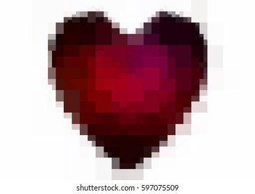 Dark Red vector love background with heart. Paper note. Valentine's greeting polygonal card. rectangular illustration for your business. Stock template for your design.