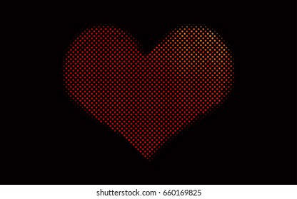 Dark Red vector modern geometrical circle abstract background. Dotted texture template. Geometric pattern in halftone style with gradient.