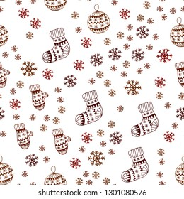 Dark Red vector seamless texture with colored snowflakes, balls, socks, mittens. Colorful decorative design in xmas style. Design for textile, fabric, wallpapers.