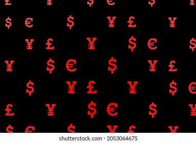 Dark red vector template with EUR, USD, GBP, JPY. Abstract illustration with colored financial digital symbols. Best design for your ad, poster, banner of money.