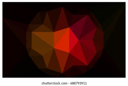 Dark Red, Yellow vector polygonal illustration, which consist of triangles with a gemstone in center. Triangular design of a huge diamond for your business. Creative geometric background of gems.