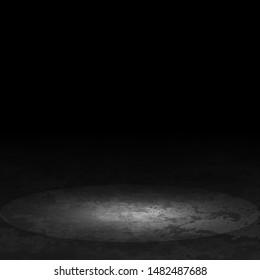 Dark room with concrete floor. Vector illustration.