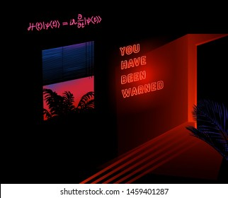 Dark room with palms and neon ultraviolet signboad of Schrodinger Quantum Physics Equation. Vaporwave/ synthwave/ retrowave 80s-90s aesthetic style vector retrofuturistic illustration.