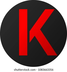 "Dark Round Background Letter ""K"" Logo"