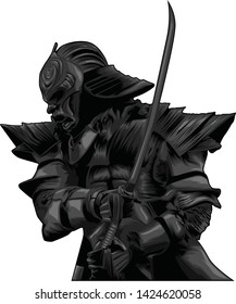 Dark Samurai Japan Vector Illustration