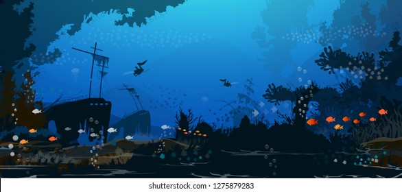 Dark sea, vector illustration of marine life Old shipwrecks and corals on the seabed background For users designing cards Electra tonic - Vector.
