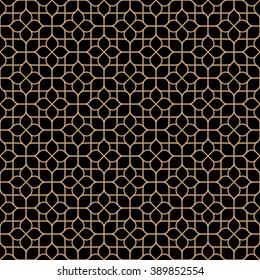 Dark seamless flower pattern in oriental style. Vector background