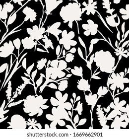 Dark seamless pattern with black flowers and leaves. Peonies, wildflowers, poppies. Abstract floral spring, summer pattern. Black and white background for weddings, fabrics, packaging.