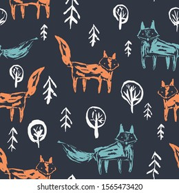 Dark seamless pattern with cute sketchy orange foxes and blue wolfs in white snowy fir forest on black. Cute woodland animals ink hand drawn texture for kids design, wallpaper, textile, wrapping paper