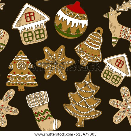 Dark Seamless Pattern Gingerbread Christmas Trees Stock Vector