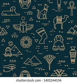 Dark seamless pattern of symbols, landmarks, and signs of Egypt from icons in a linear style.