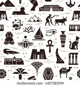 Dark seamless pattern of symbols, landmarks, and signs of Egypt from icons in a flat style.